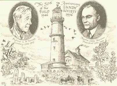 Postcard drawn by John Dyke in 1996 to celebrate 50 years of the LFS. Showing Leslie Harvey on the left, Martin Coles Harman on the right and the Old Light in the centre.